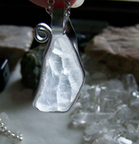 Natural Ulexite T.V. Stone Wire Wrapped Pendant