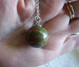 Natural Unakite Pink and Green Gemstone Crystal Ball Pendant