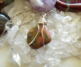 Unakite Natural Pink and Green Gemstone Wire Wrapped Pendant Necklace