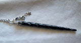 Black Bone Spiral Unicorn Horn Wand Jewelry Pendant Necklace
