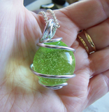 Vintage Custard Glass Sphere Wire Wrapped Pendant Necklace