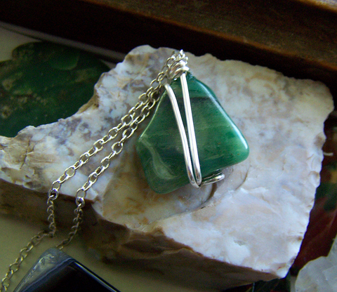 Natural Green Verdite Polished Gemstone Wire Wrapped Pendant