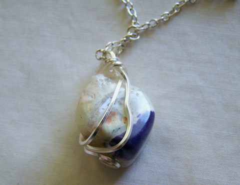 Violet Flame Grape Opal Polished Gemstone Pendant