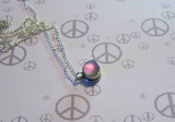 Holographic Rainbow Cube Silver Bullet Necklace