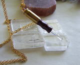 Quartz Crystal Boxwood Mini Wand Bullet Jewelry Necklace Pendant