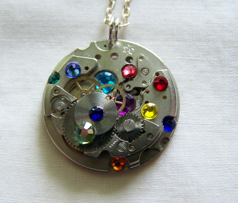 Rainbow Crystals Silver Watch Works Pendant Steampunk Necklace