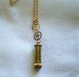 Antique Gold Watch Crown Brass Gears Bullet Jewelry Pendant