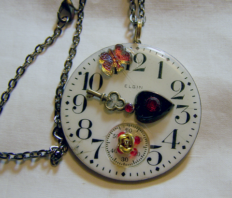 Steampunk Antique Enamel Watch Face Pendant