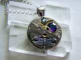 Vintage Watchworks Dragonfly Crystal Steampunk Pendent