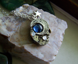 Vintage Watchworks Blue Moon and Stars Steampunk Pendant