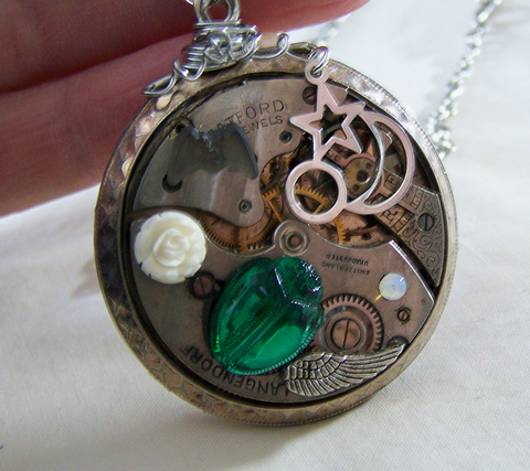 Antique Watch Works Scarab and Rose Steampunk Pendant