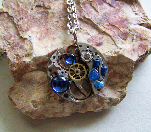 Steampunk Watchworks with Blue Jewels Jewelry Pendant