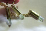 Watermelon Tourmaline Bullet Pendant and Earrings Set