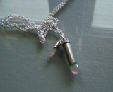 Natural Watermelon Tourmaline Double Crystal Bullet Pendant