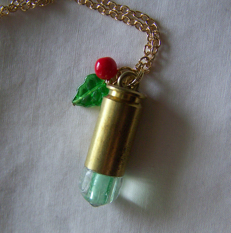 Wintergreen Holly Glow in the Dark Bullet Pendant
