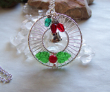Silver Holly Christmas Lights Holiday Wreath Pendant