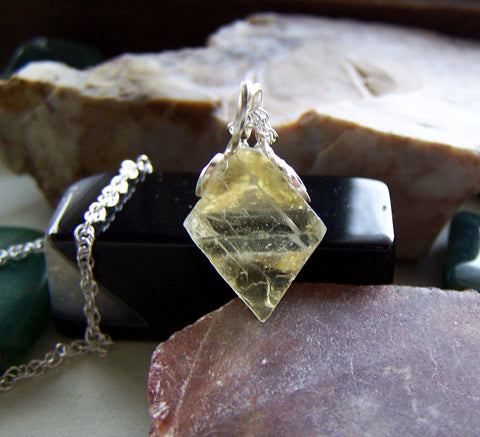 Natural Yellow Fluorite Octahedron Pendant Necklace