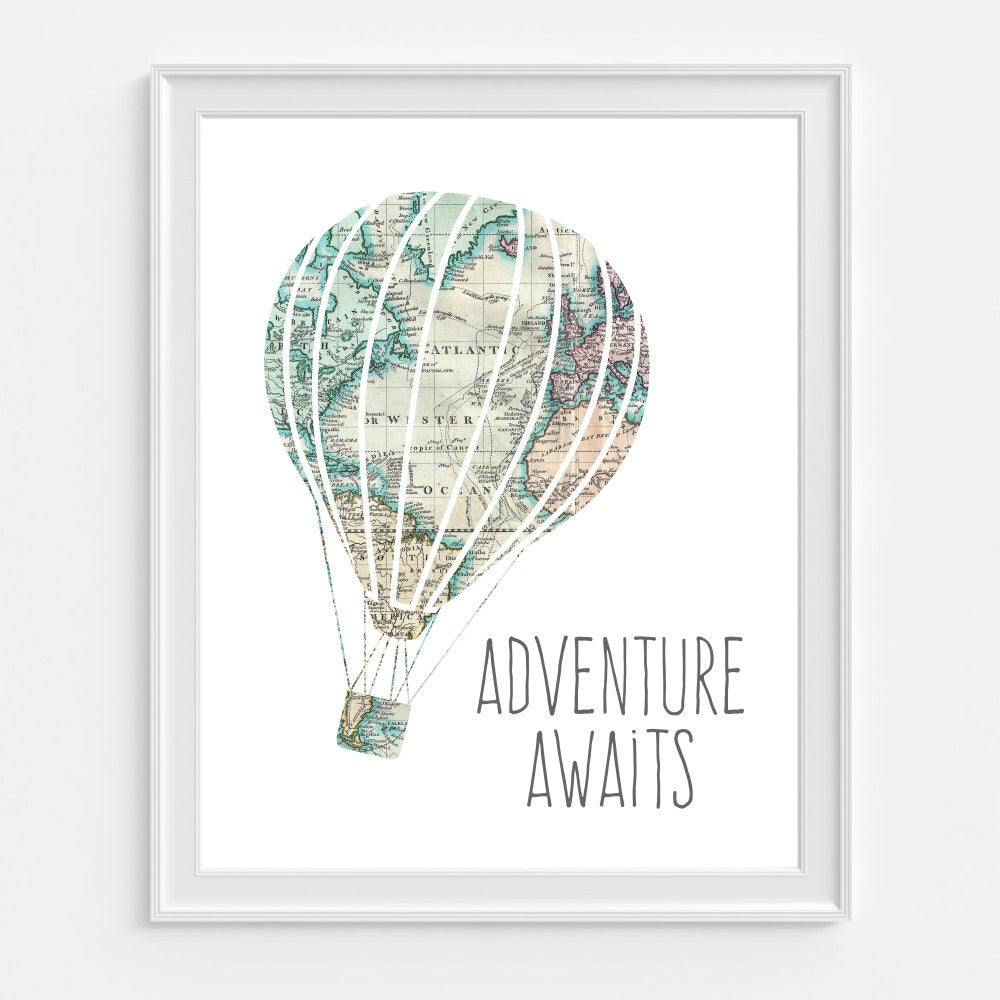 Hot Air Balloon Wall Art with Map Adventure Awaits