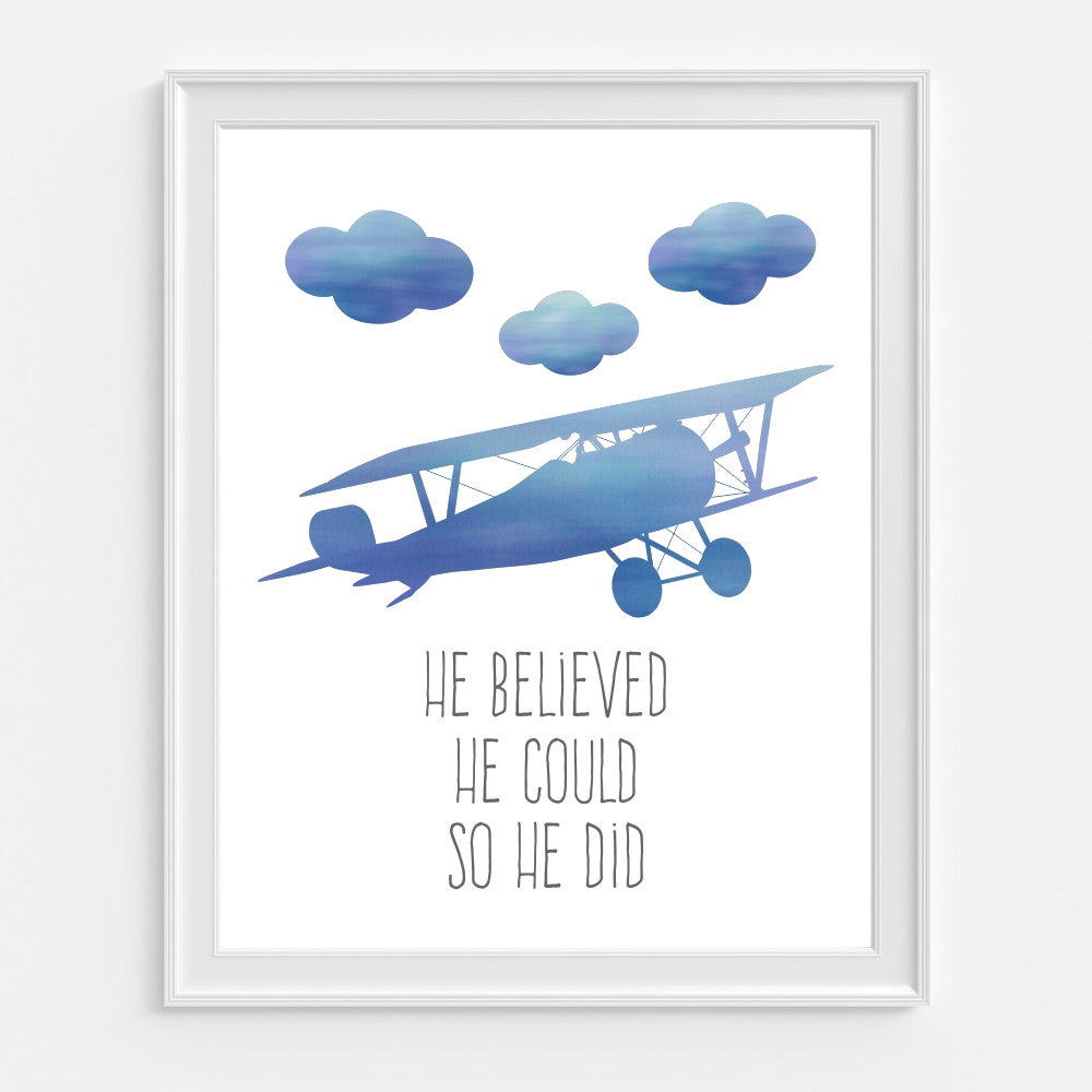 He Believed He Could So He Did Blue Airplane Wall Art