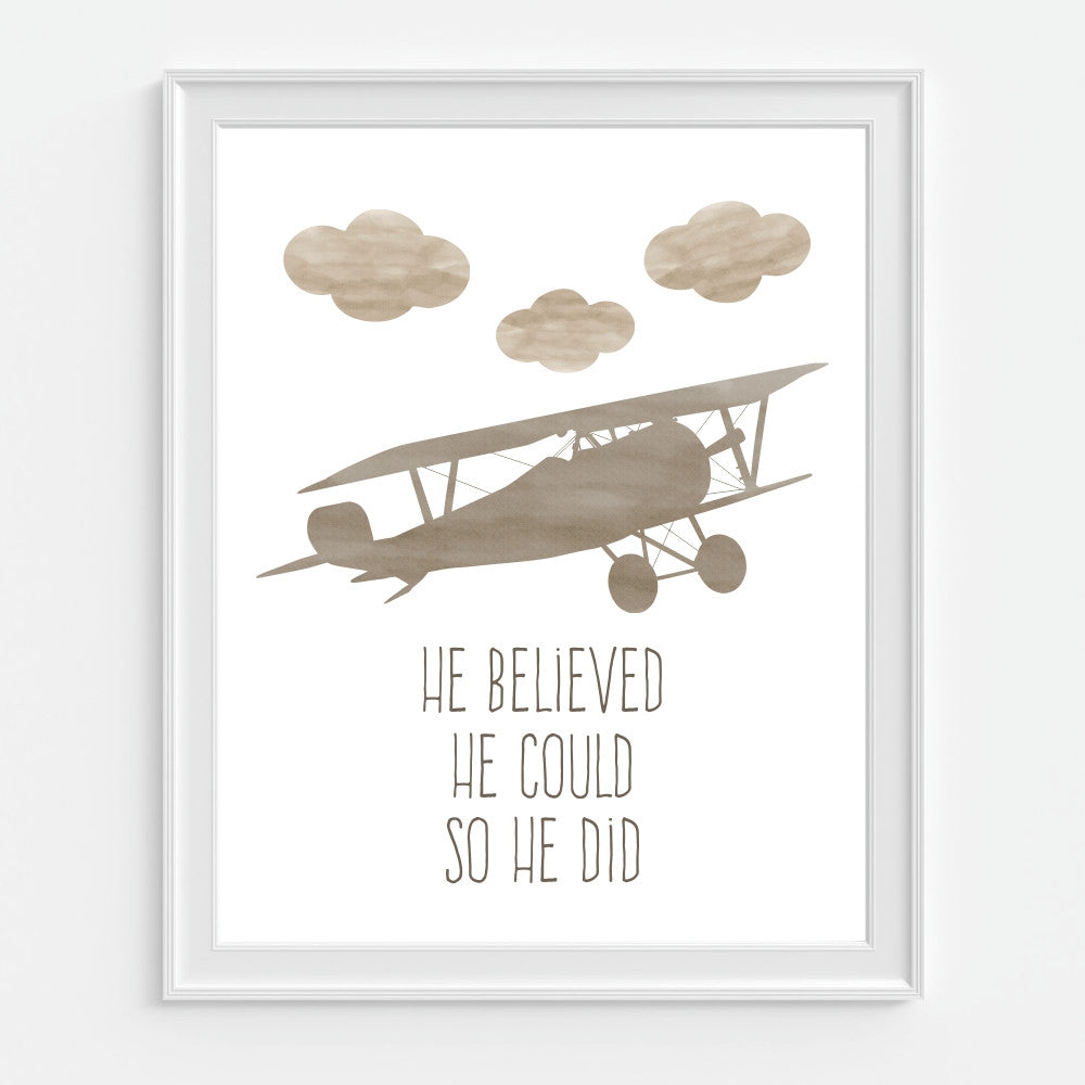 He Believed He Could So He Did Brown Airplane Wall Art