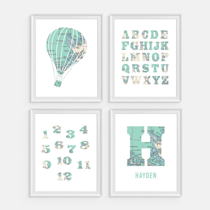 Monogram with map wall art includes hot air balloon the alphabet and numbers