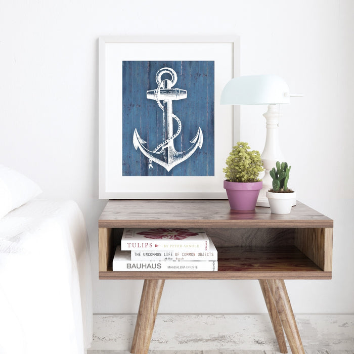 Anchor Wall Art Blue Background