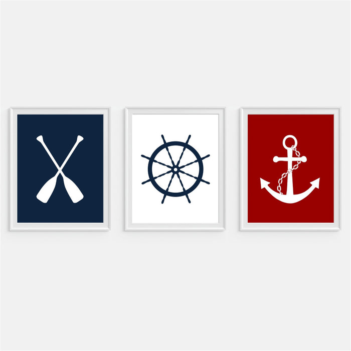 Anchor, Ship Wheel, Oars Art Print Red White and Blue Prints