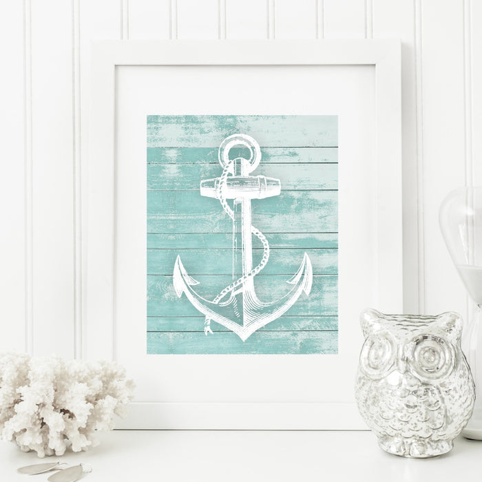 Anchor Wall Art in teal on a faux wood background