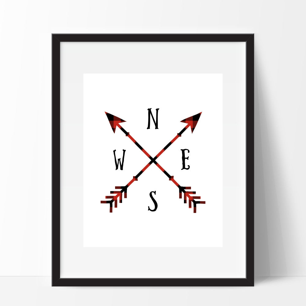 Arrows Compass Art Print in Plaid
