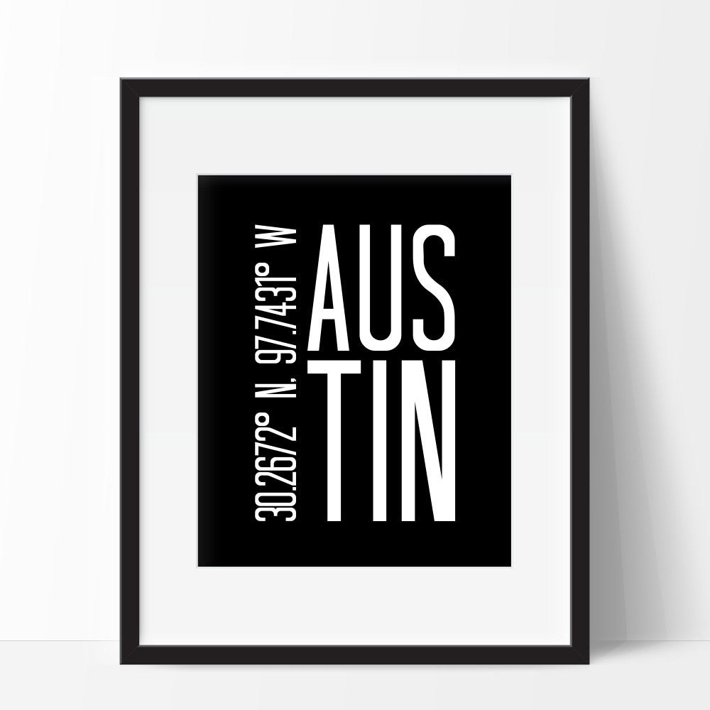 Austin Texas Coordinates Wall Art