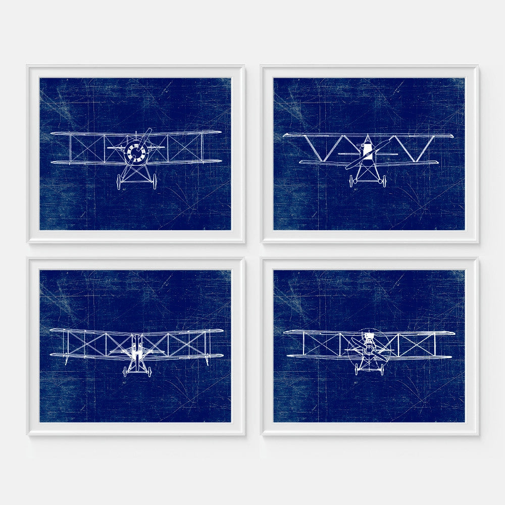 Aviation Wall Art Set of Four Blue Airplanes