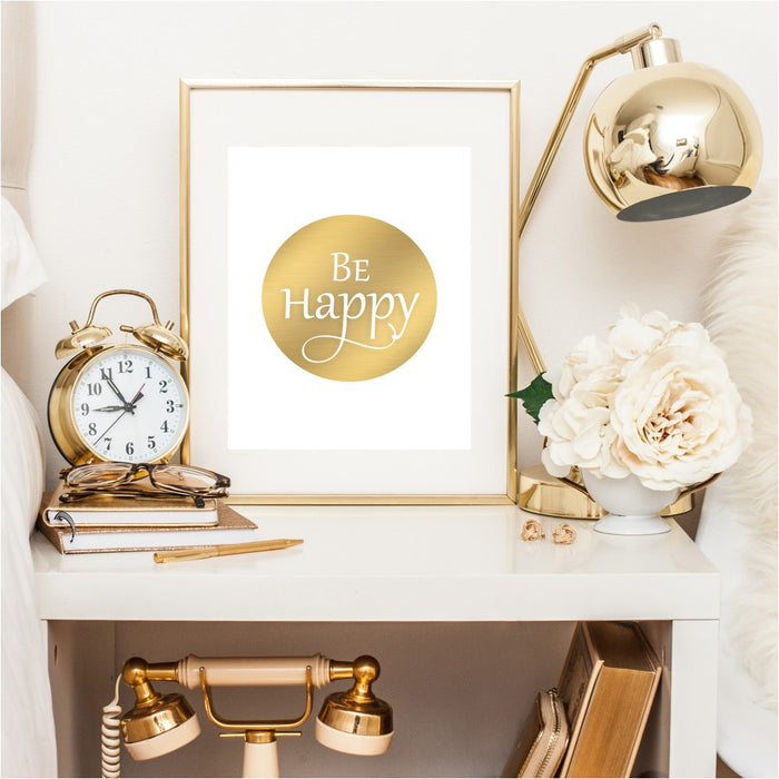 Be Happy Gold Wall Art