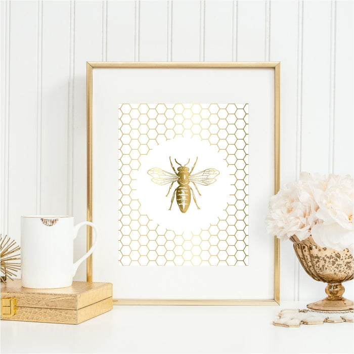 Gold Bee Wall Art