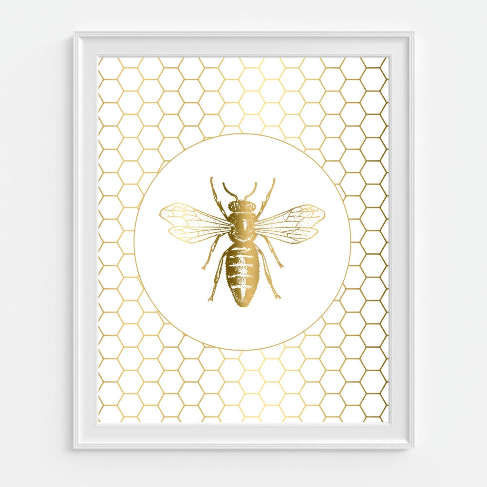 Honeycomb Gold Bee Art Print