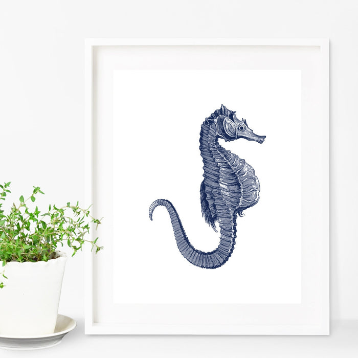 Seahorse Wall Art in Blue