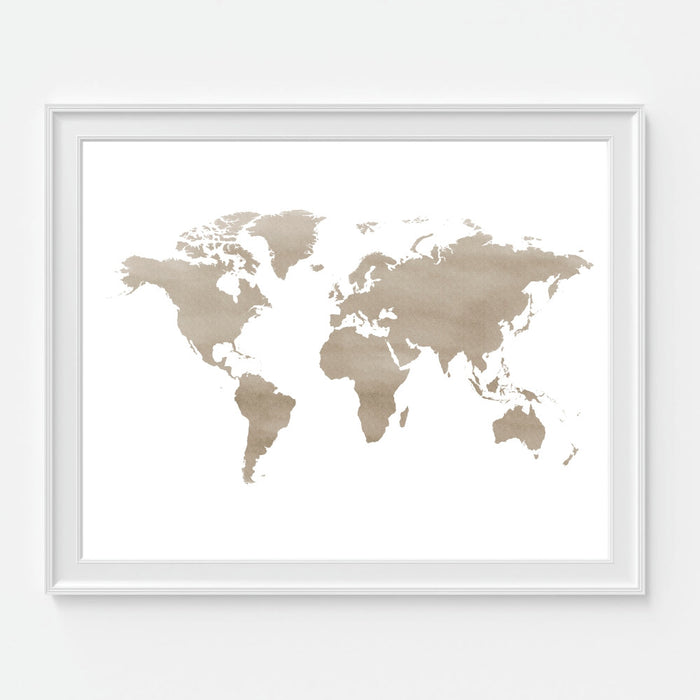 Brown Watercolor World Map