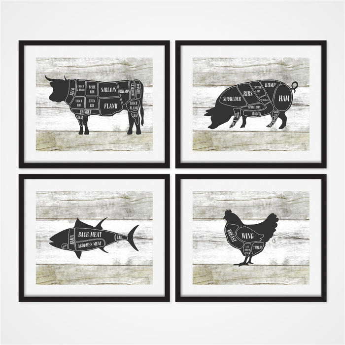 Butcher Art Prints Set of four includes cow, pig, chicken, and fish
