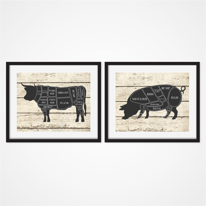 Butcher Prints Includes Cow and Pig