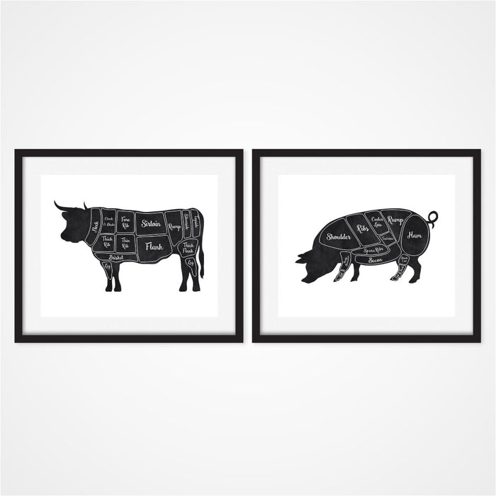 Butcher Wall Art includes cow and pig