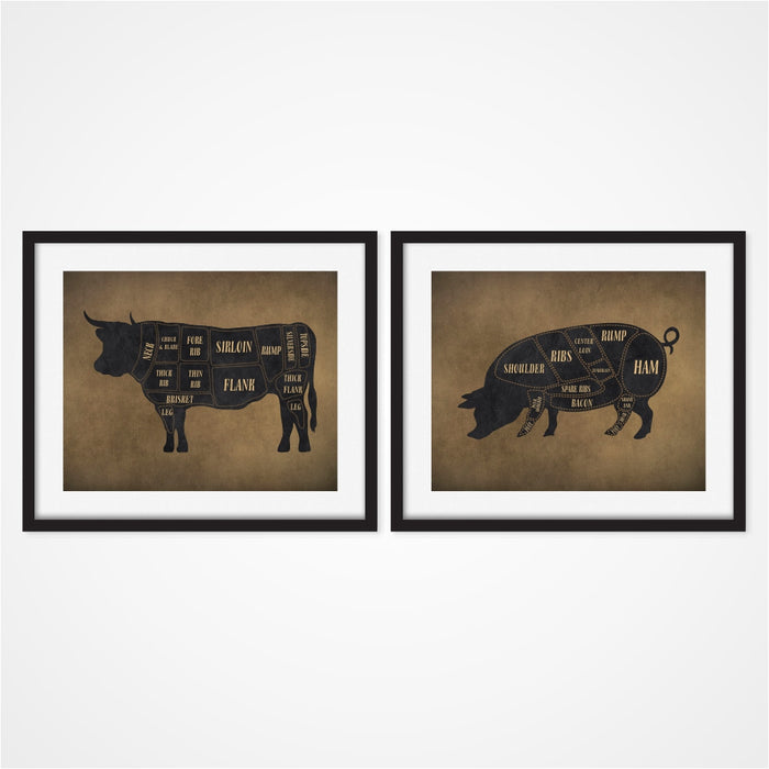 Cow and Pig Butcher Art Prints