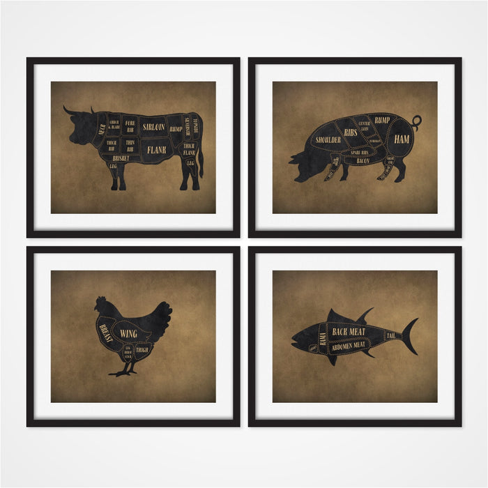 Butcher Art Prints Dark Brown Includes Cow Pig Chicken and Fish