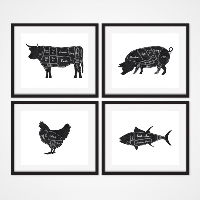 Butcher Wall Art Cow Pig Chicken and Fish