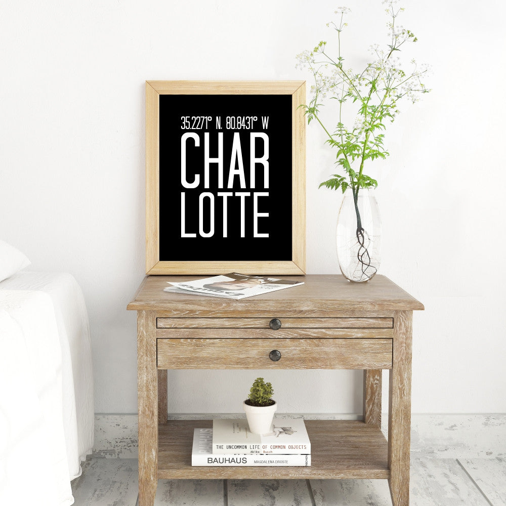 Wall Art Print of Coordinates of Charlotte North Carolina