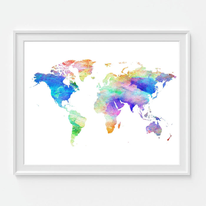 Watercolor World Map Gallery Art