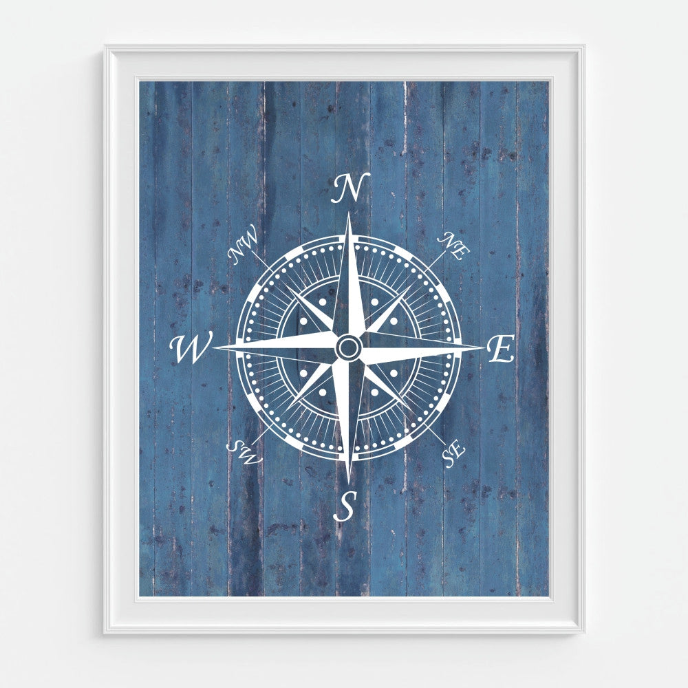 Compass Wall Art in Blue