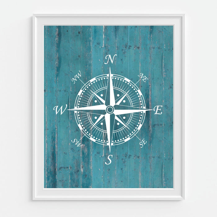 Compass Wall Art in Teal