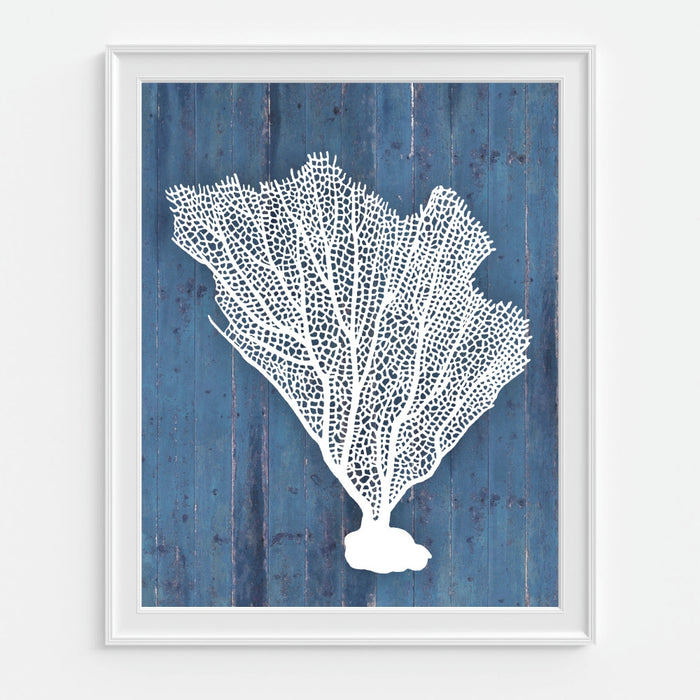 Coral Fan Wall Art in Blue
