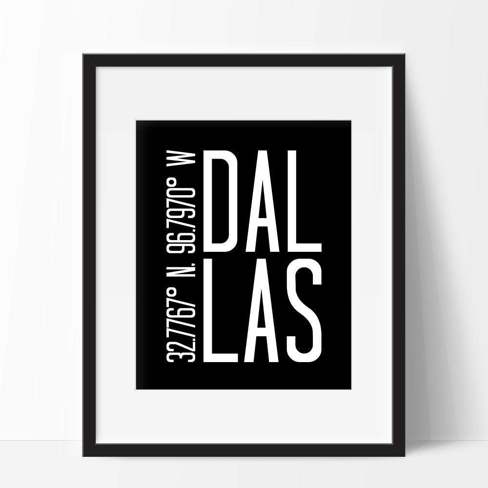 Coordinates Wall Art of Dallas Texas
