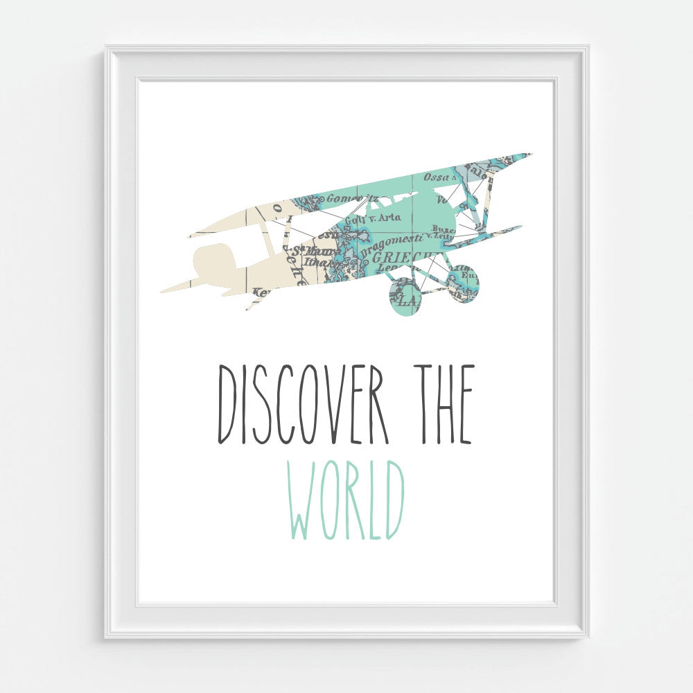Discover The World Airplane Art Print