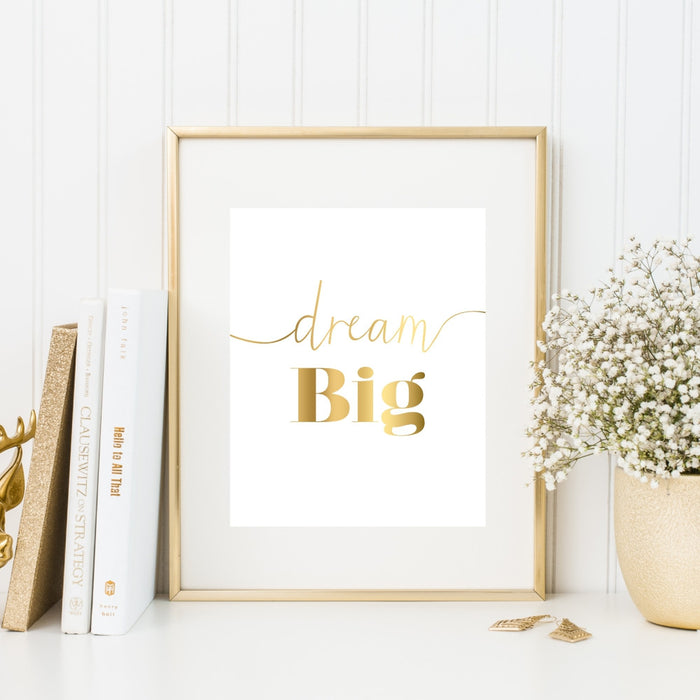 Dream Big Gold Wall Art